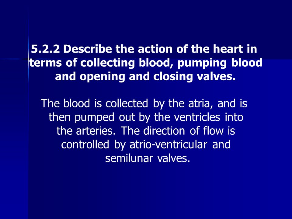 5.2.2 Describe the action of the heart in