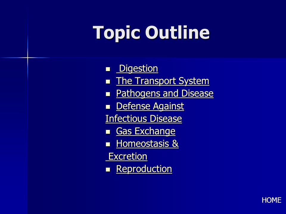 Topic Outline Digestion The Transport System Pathogens and Disease