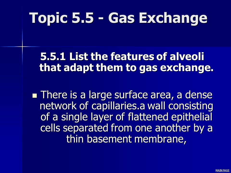 5.5.1 List the features of alveoli that adapt them to gas exchange.