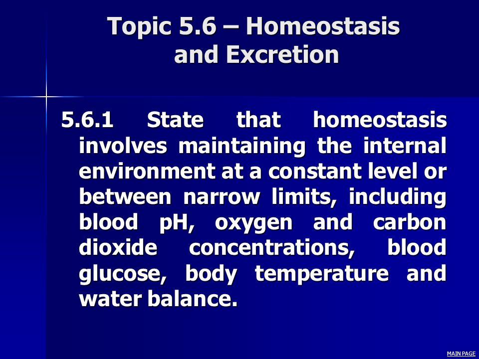 Topic 5.6 – Homeostasis and Excretion