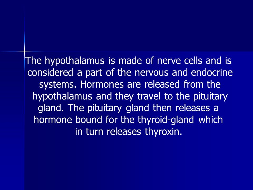 The hypothalamus is made of nerve cells and is