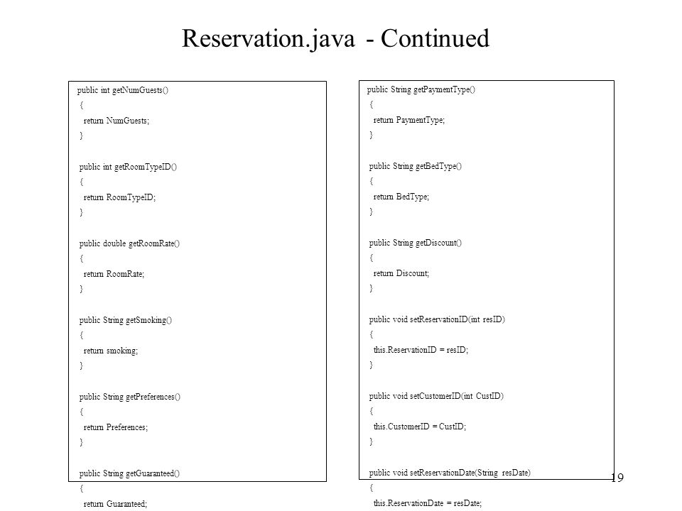 Reservation.java - Continued