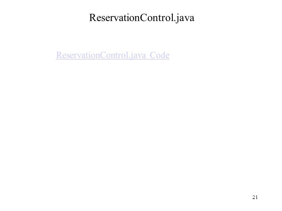 ReservationControl.java ReservationControl.java Code