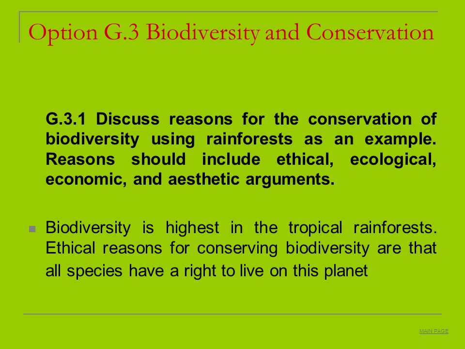 Option G.3 Biodiversity and Conservation