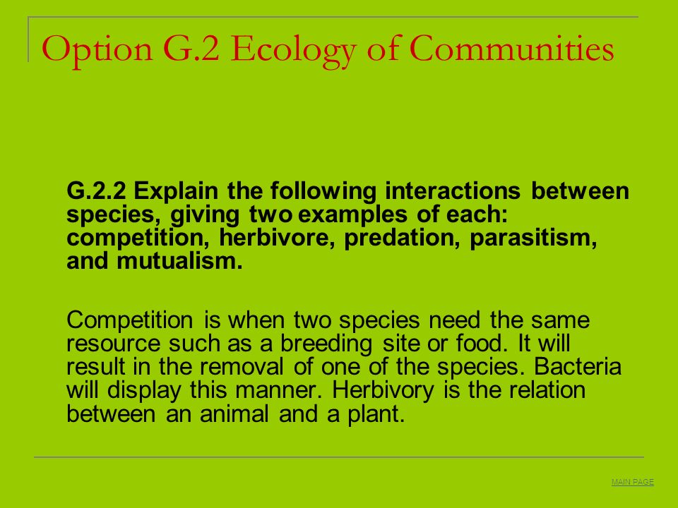 Option G.2 Ecology of Communities