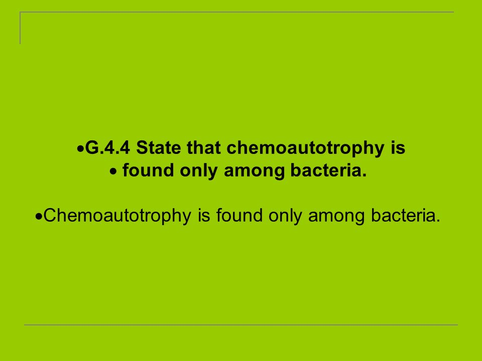 G.4.4 State that chemoautotrophy is