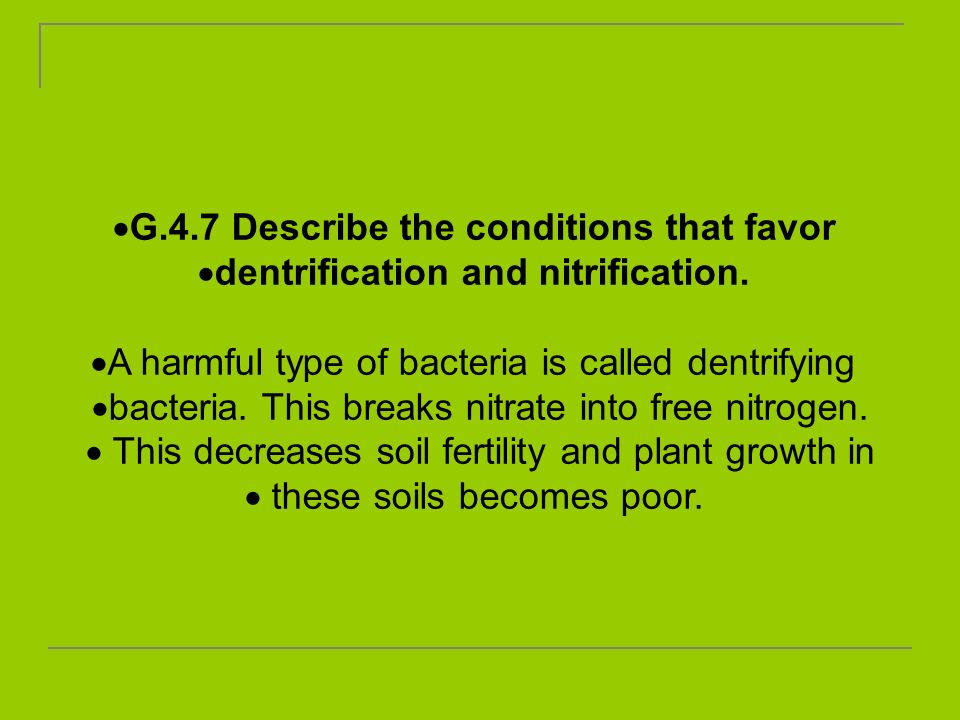 G.4.7 Describe the conditions that favor