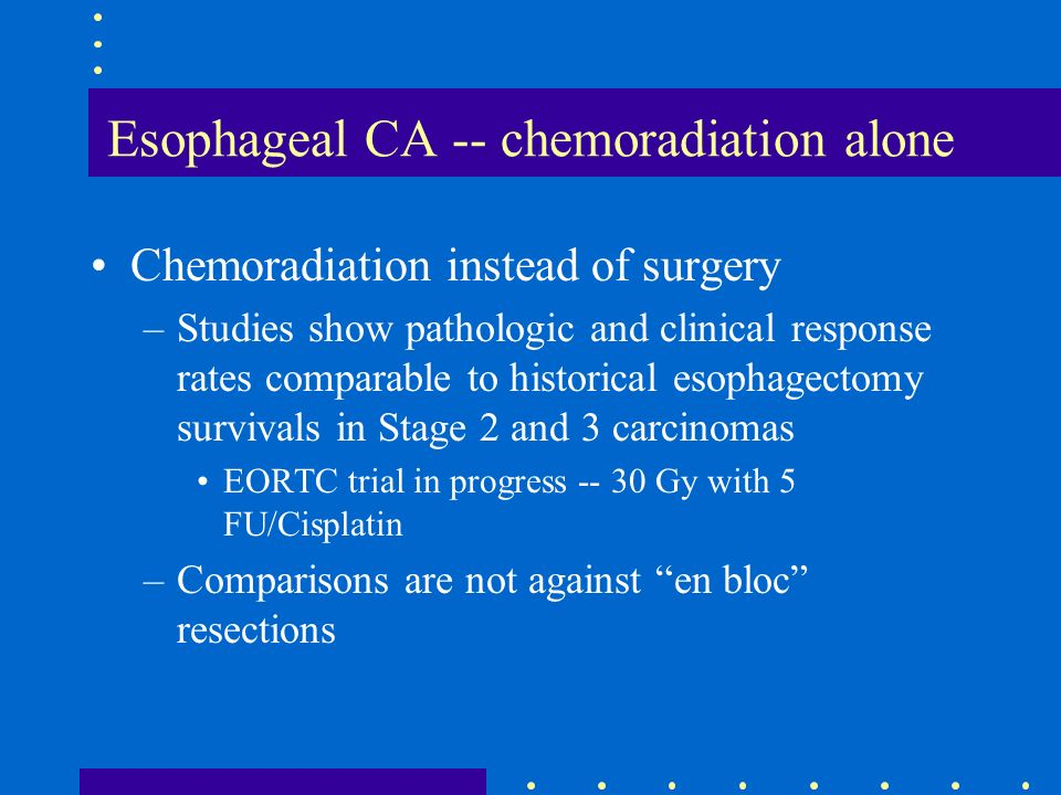 Esophageal CA -- chemoradiation alone