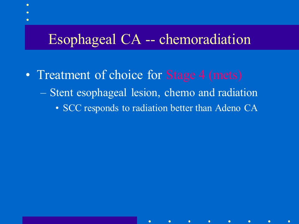 Esophageal CA -- chemoradiation