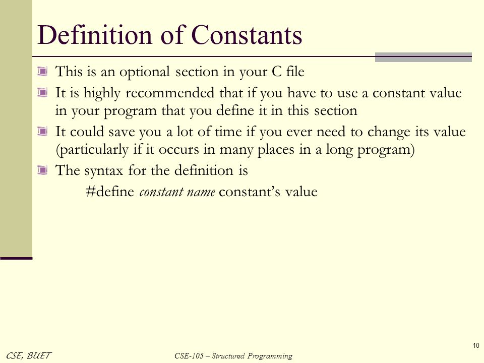 Definition of Constants