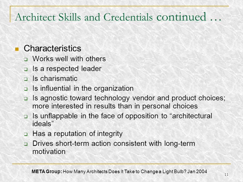 Architect Skills and Credentials continued …