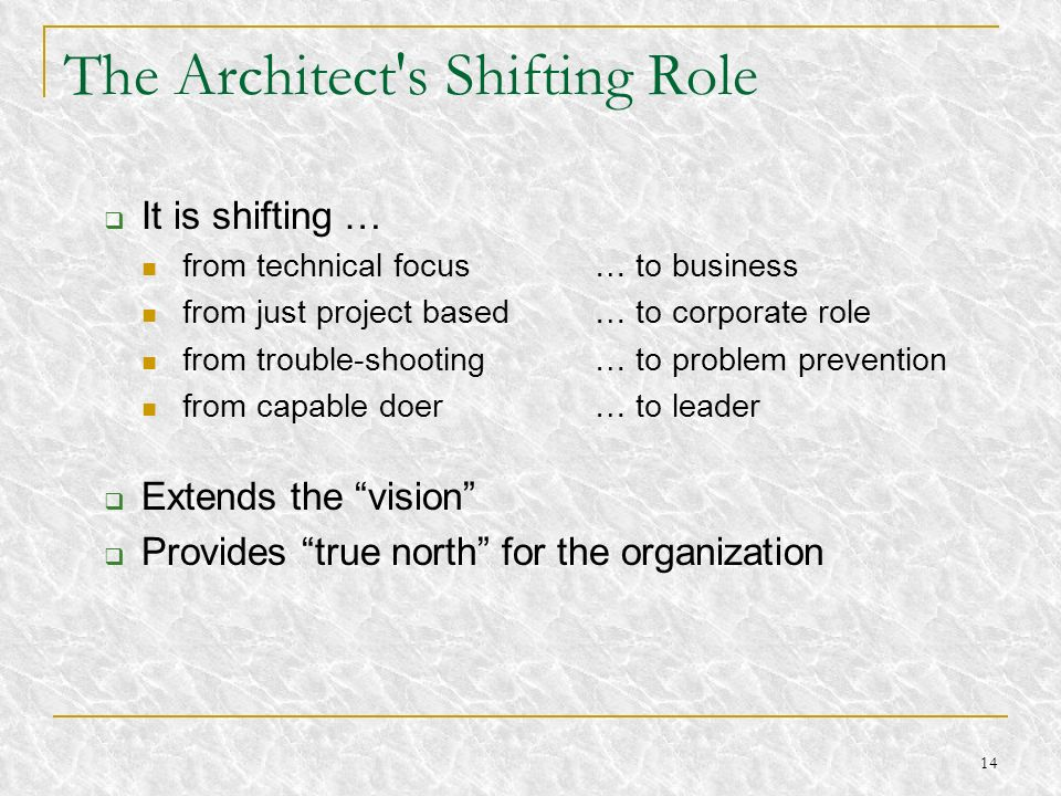The Architect s Shifting Role