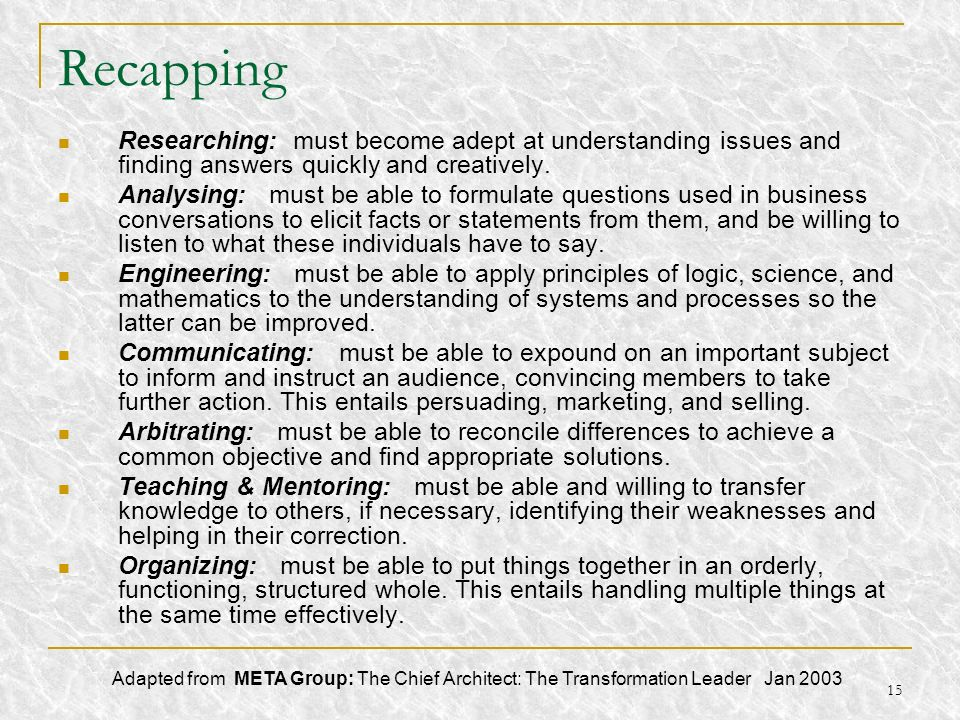 Recapping Researching: must become adept at understanding issues and finding answers quickly and creatively.