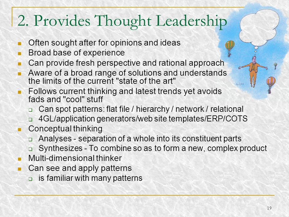 2. Provides Thought Leadership