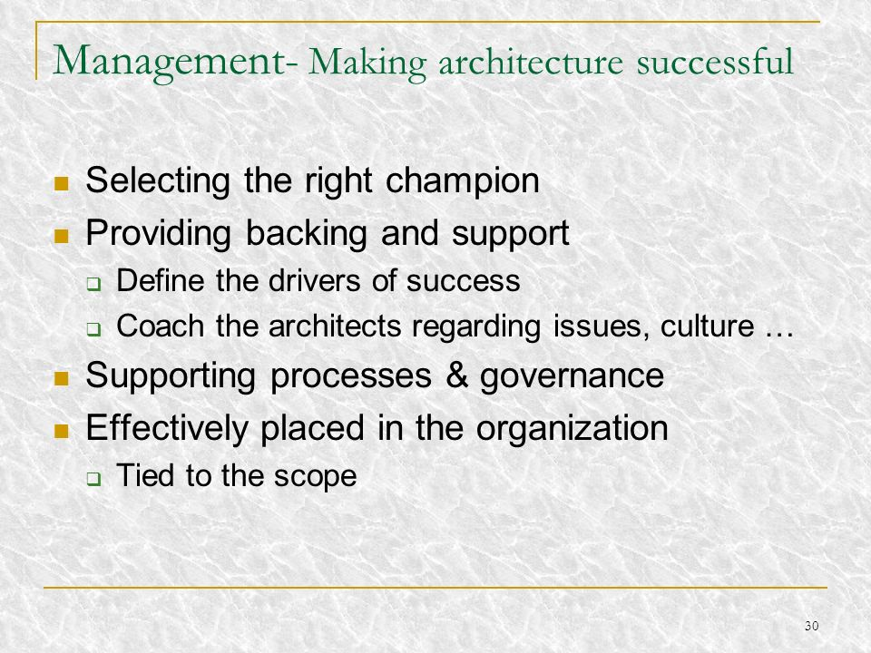 Management- Making architecture successful