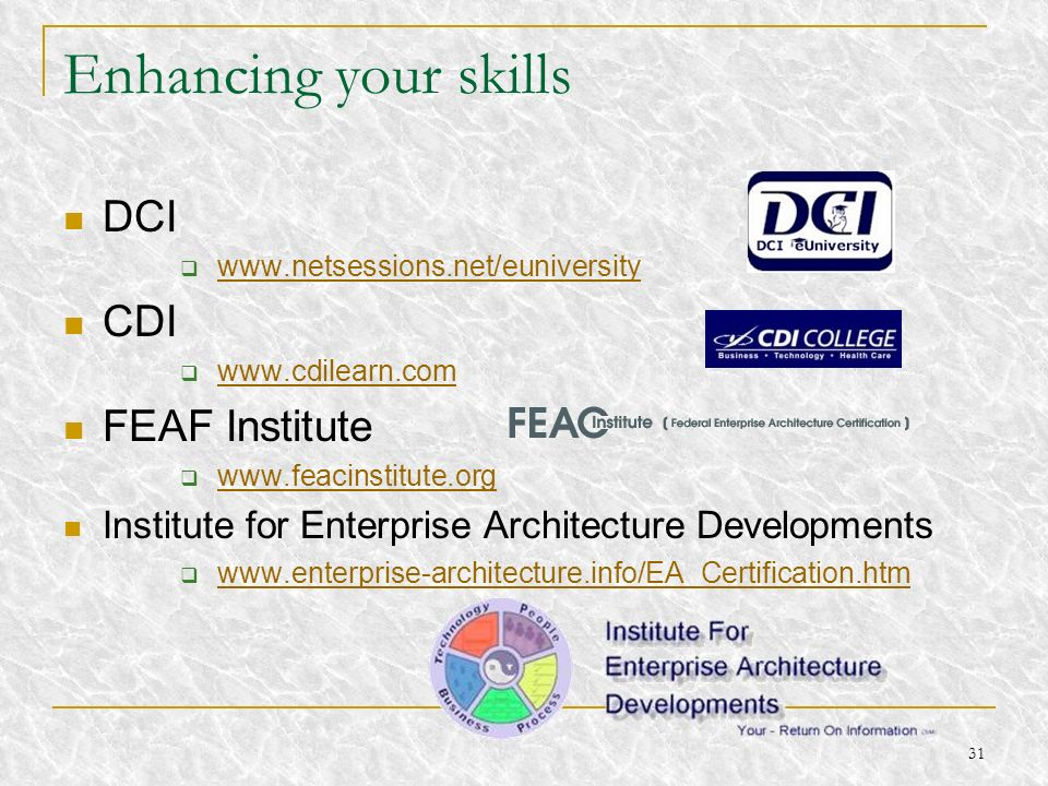 Enhancing your skills DCI CDI FEAF Institute