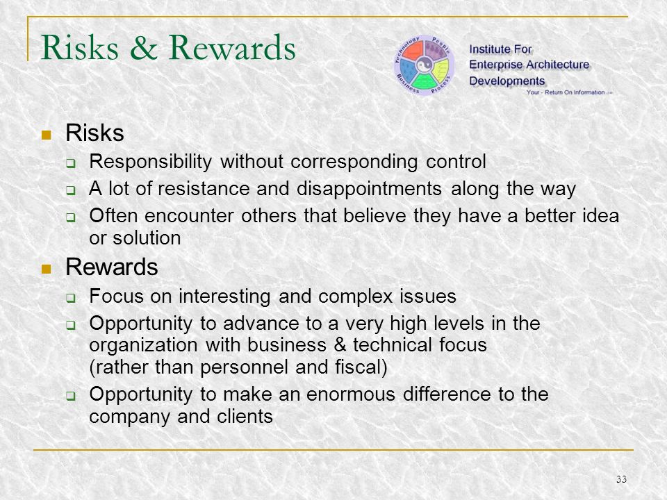 Risks & Rewards Risks Rewards