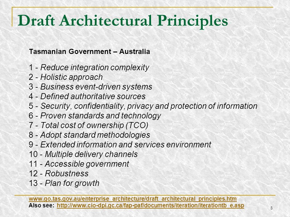Draft Architectural Principles