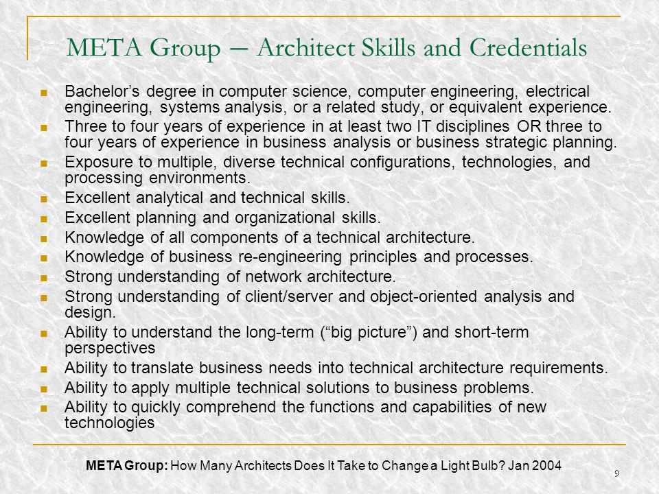 META Group – Architect Skills and Credentials
