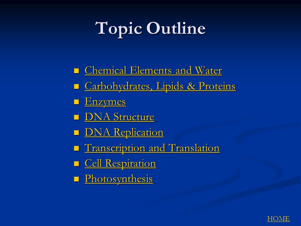 Topic Outline Chemical Elements and Water