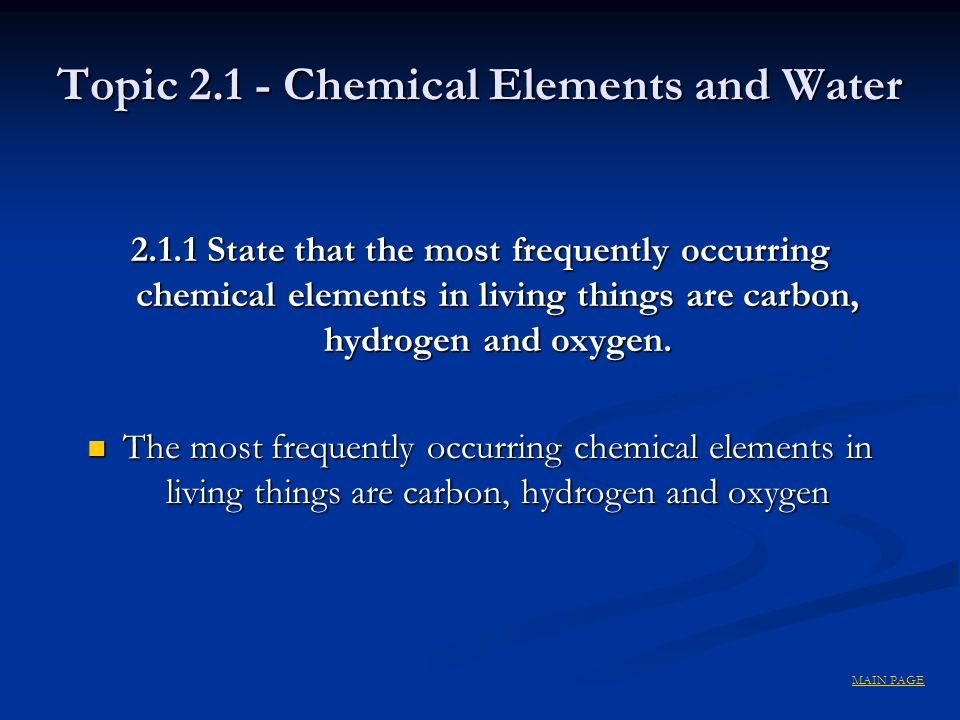Topic 2.1 - Chemical Elements and Water