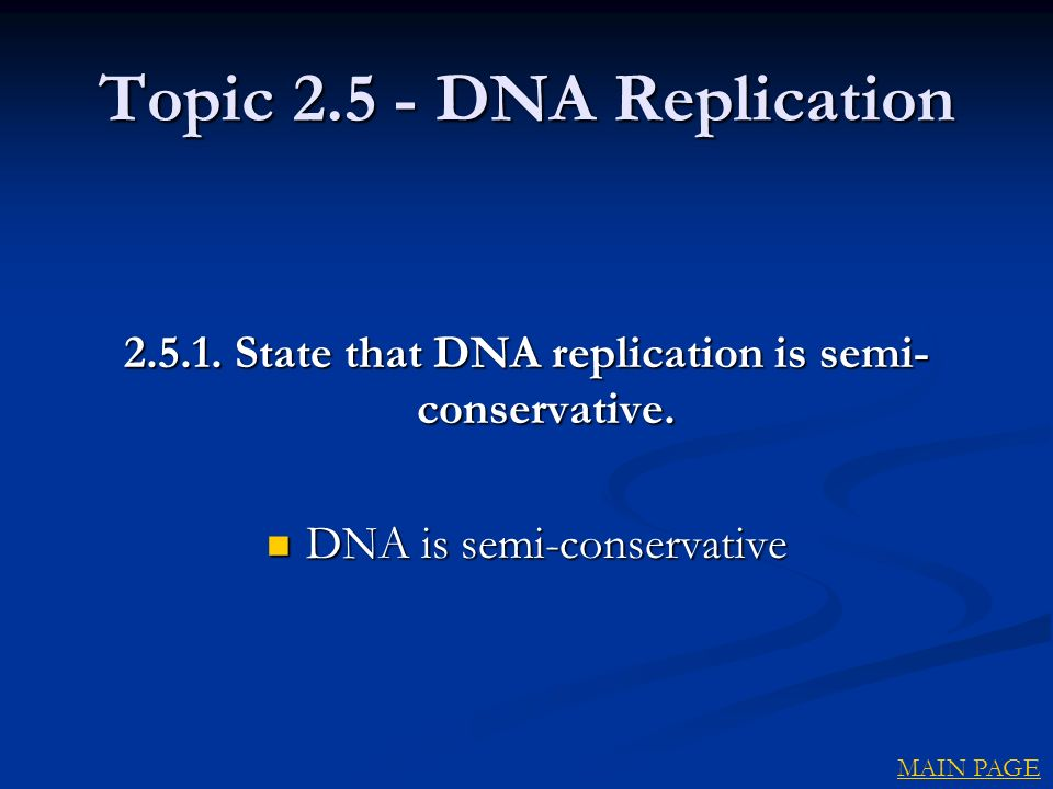 Topic DNA Replication