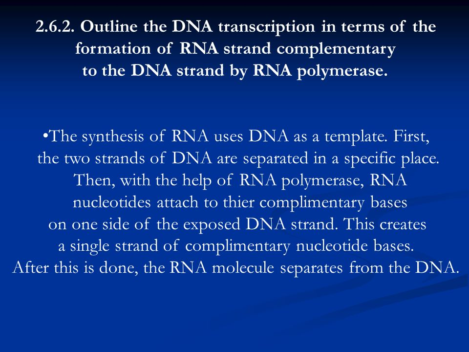 Outline the DNA transcription in terms of the