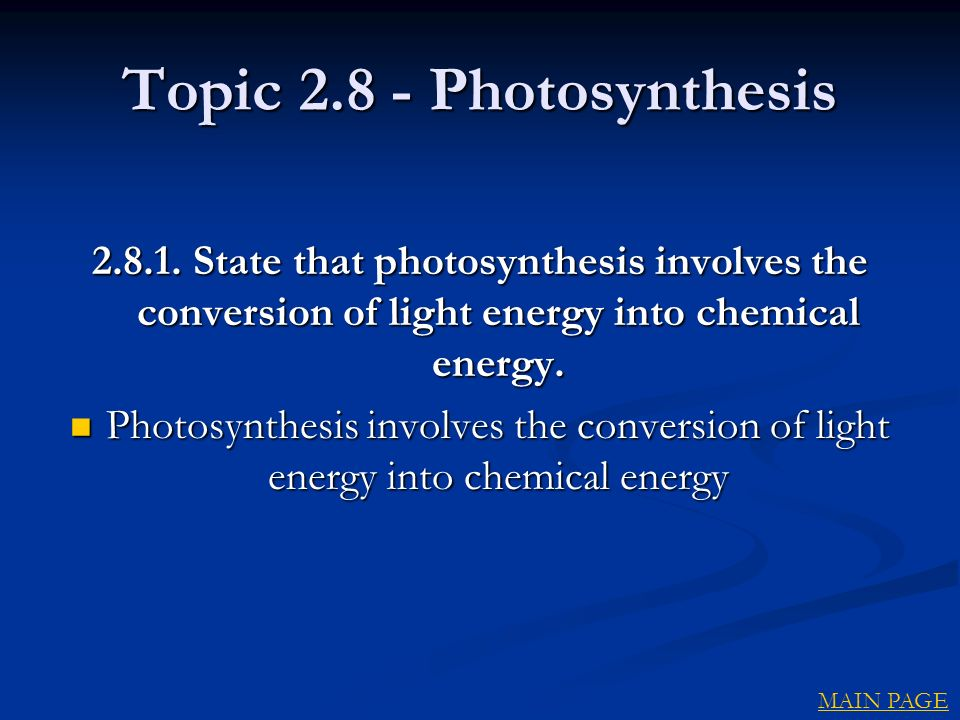 Topic 2.8 - Photosynthesis