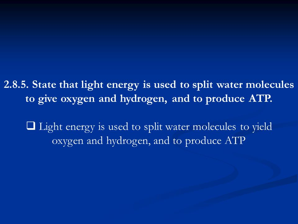 State that light energy is used to split water molecules