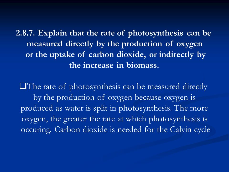 Explain that the rate of photosynthesis can be