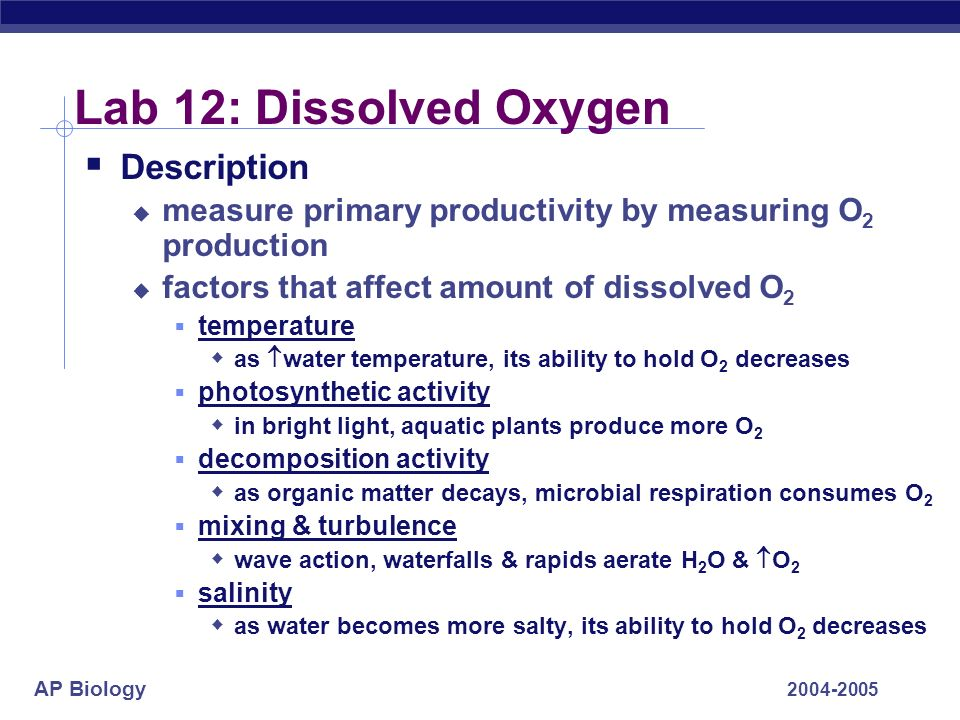 Lab 12: Dissolved Oxygen Description