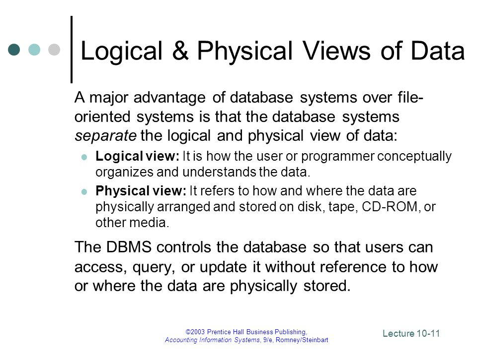 Logical & Physical Views of Data