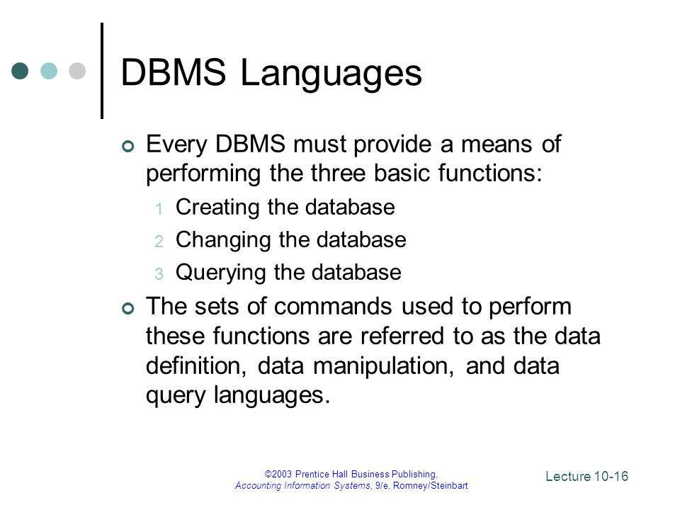 DBMS Languages Every DBMS must provide a means of performing the three basic functions: Creating the database.