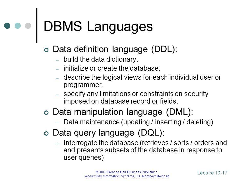 DBMS Languages Data definition language (DDL):