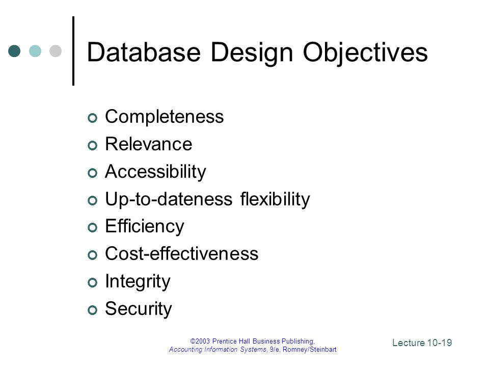 Database Design Objectives