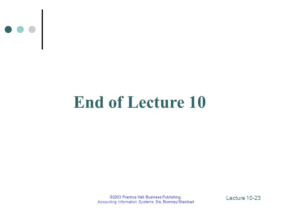 End of Lecture 10 ©2003 Prentice Hall Business Publishing,