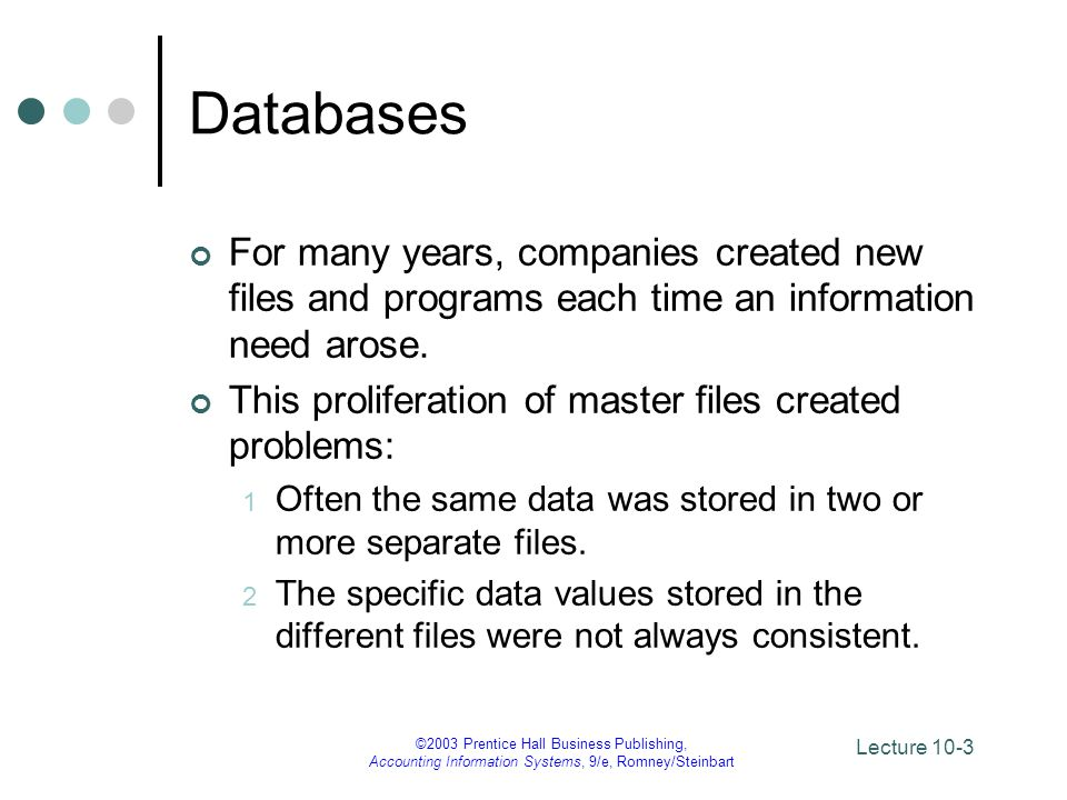 Databases For many years, companies created new files and programs each time an information need arose.