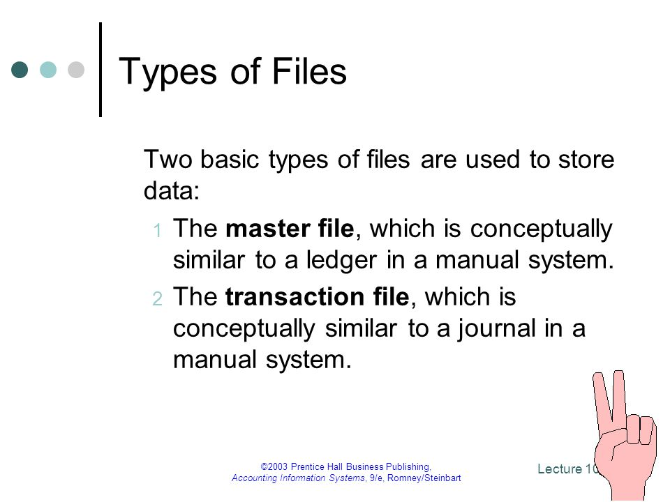 Types of Files Two basic types of files are used to store data: