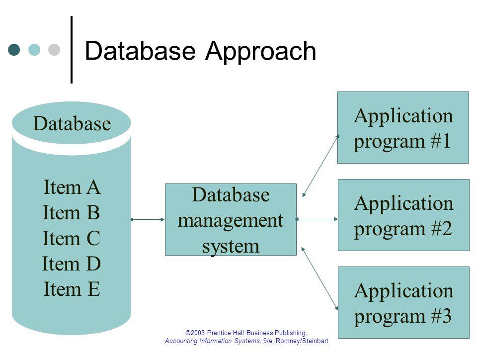 Database Approach Application Database program #1
