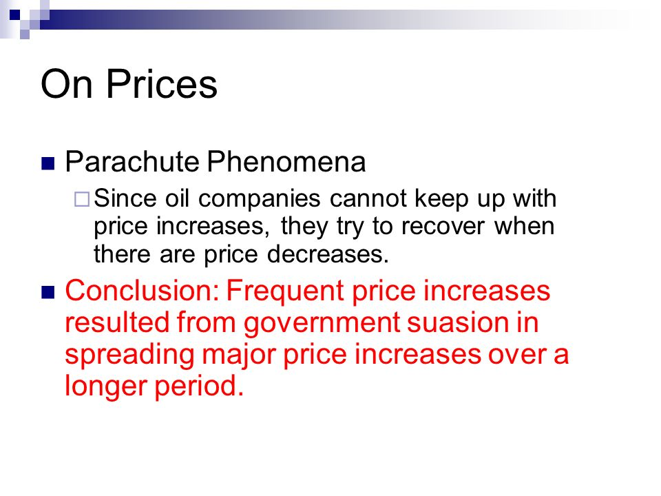 On Prices Parachute Phenomena