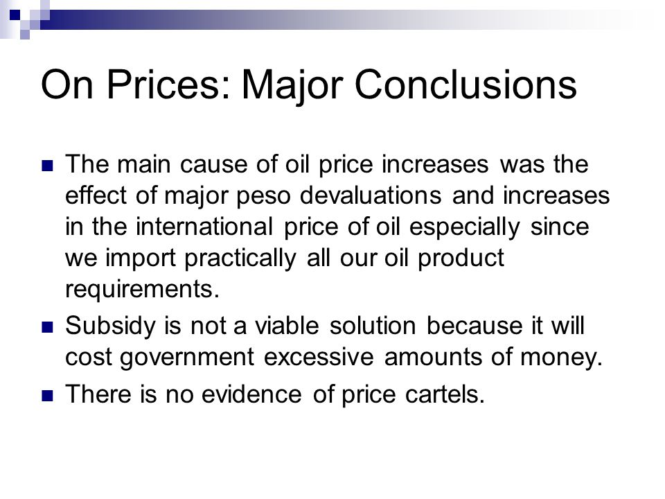On Prices: Major Conclusions