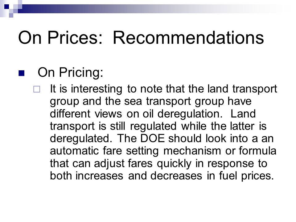 On Prices: Recommendations