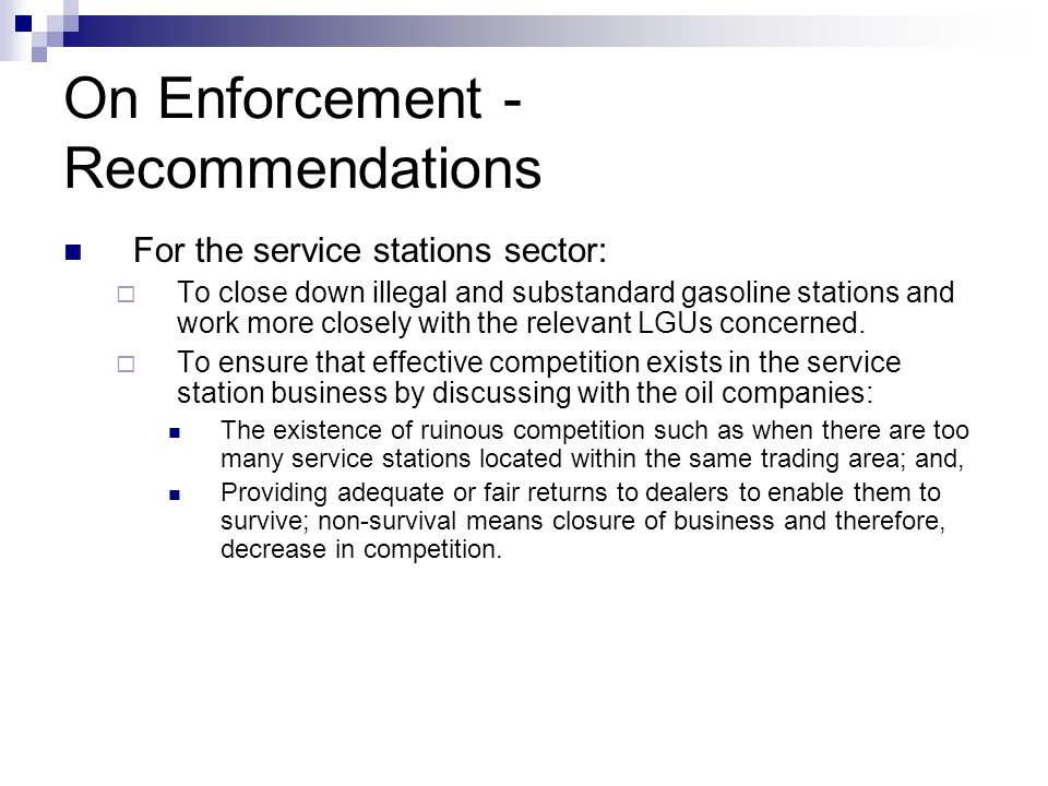 On Enforcement - Recommendations