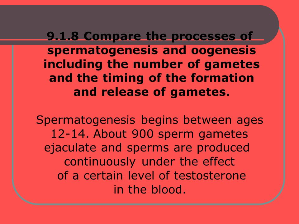 9.1.8 Compare the processes of spermatogenesis and oogenesis