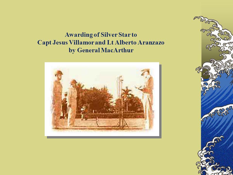 Awarding of Silver Star to Capt Jesus Villamor and Lt Alberto Aranzazo by General MacArthur