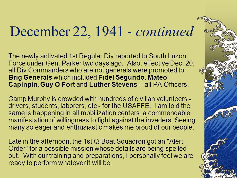 December 22, 1941 - continued