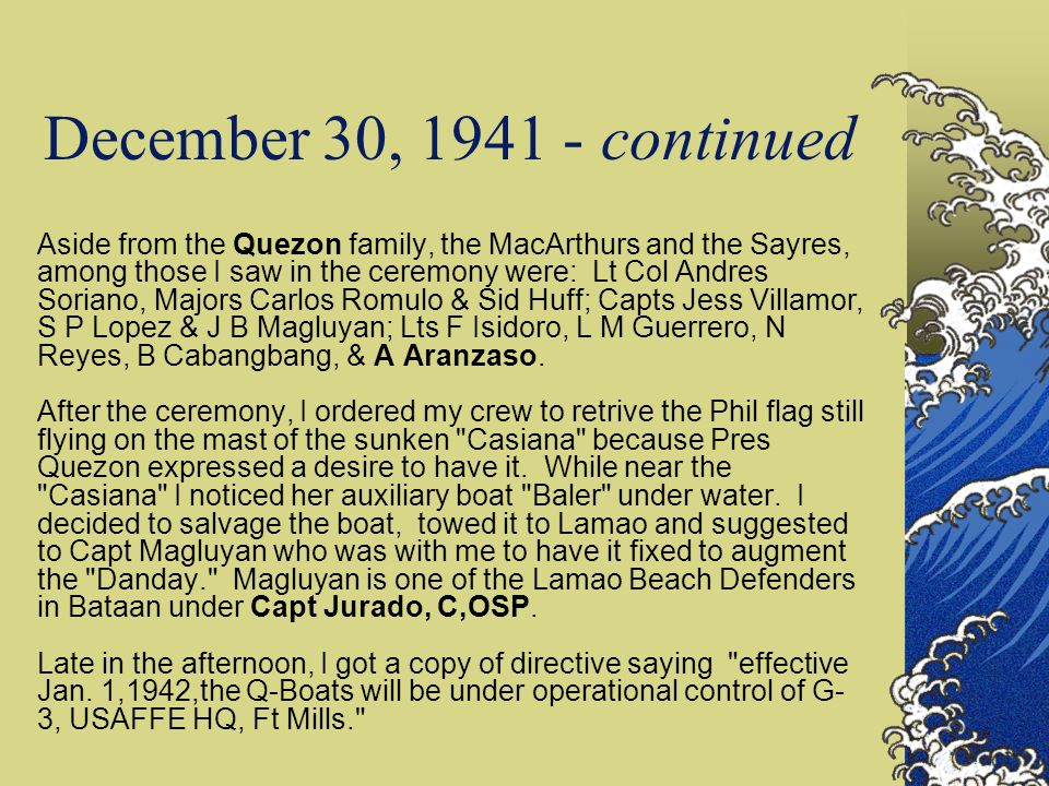 December 30, 1941 - continued