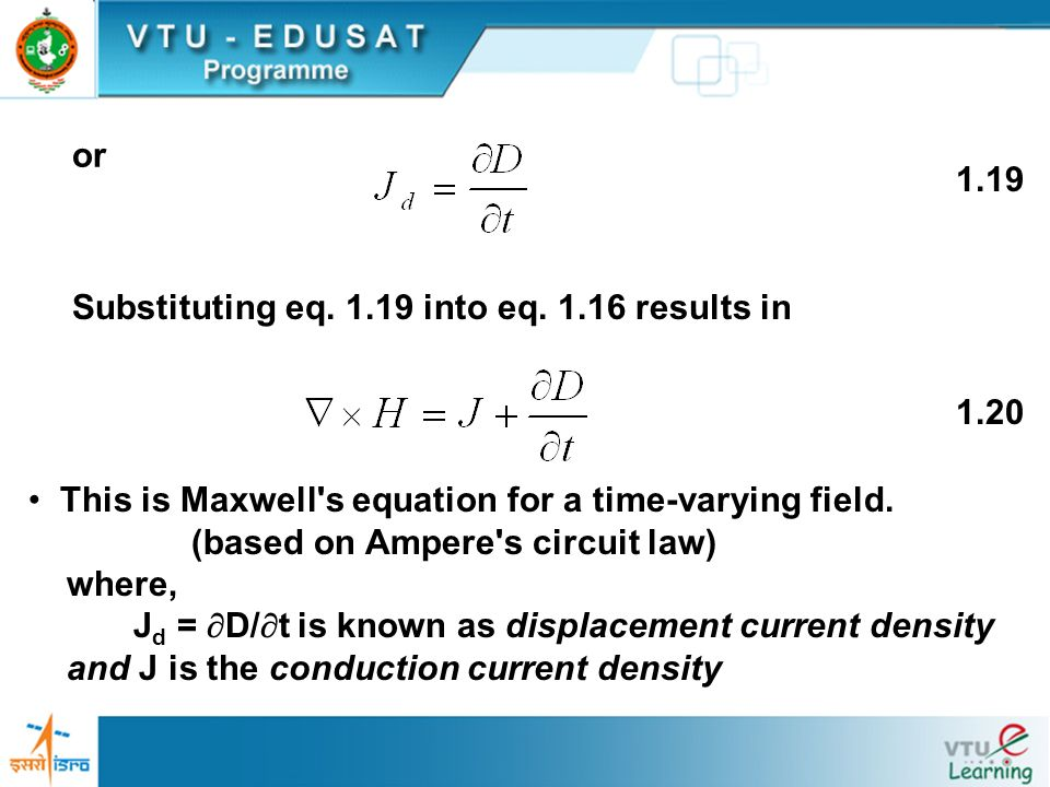 or 1.19. Substituting eq. 1.19 into eq. 1.16 results in. 1.20. This is Maxwell s equation for a time-varying field.