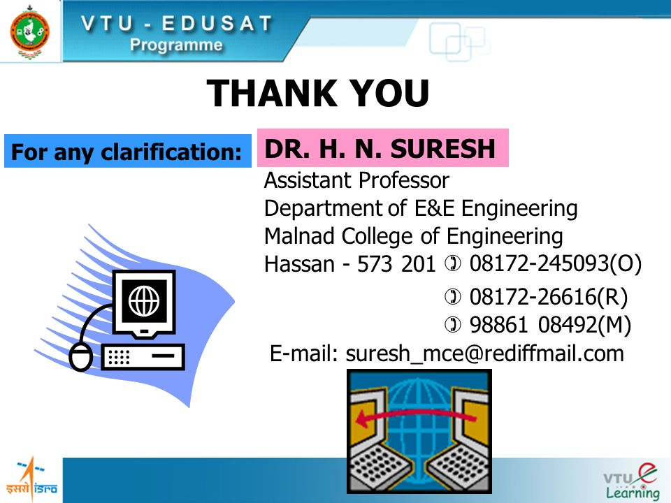 THANK YOU DR. H. N. SURESH For any clarification: Assistant Professor