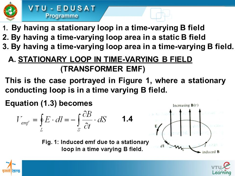 2. By having a time-varying loop area in a static B field